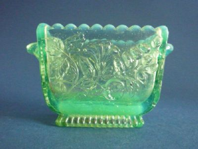 Rare Sowerby Green Opalescent Vaseline Glass Posy Vase c1879